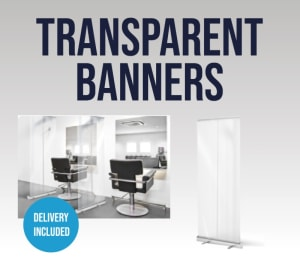 Transparent Divider Style Covid 19 Pop Up Banner For Social Distancing
