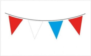 Solid Colour Waterproof Bunting 20 Flags 20cm X 30cm 10m Red/white/blue 1ct