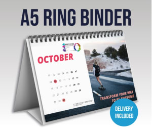 A5 Ring Binded Desk Calendar With Your Branding And 12 Month Design