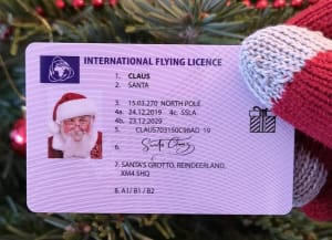 Santa Sleigh Flying Licence Light Pink