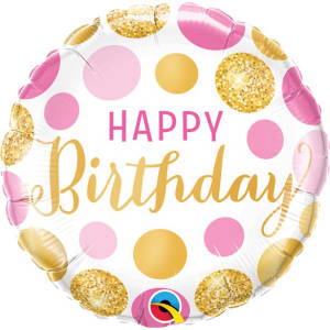 Happy Birthday Pink Gold Dots Balloon - 18inch Foil