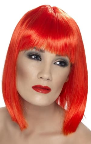 Glam Neon Red Wig