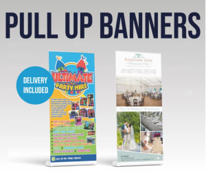 2 X Pop Up Banners - £60+vat And £10+vat Artwork / Design