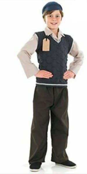 Evacuee School Boy (trousers, Jumper With Attached Shirt & Hat)