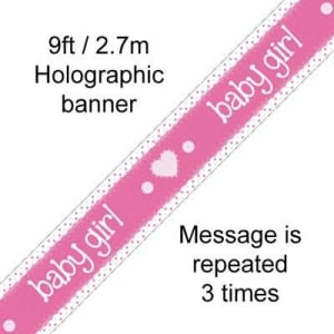 Pink Baby Girl 9ft/2.7m Holographic Banner