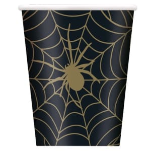 Black And Gold Spider Web Cups Pk8