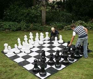 Giant Chess & Draughts Pieces With Pvc Mat Package