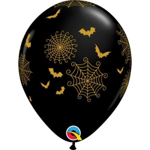 Spider Webs And Bats 11inch Latex Balloons Pk25