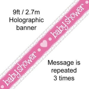 Pink Baby Shower 9ft/2.7m Holographic Banner