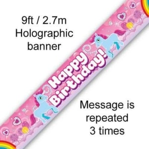 Unicorn Rainbow Birthday 9ft/2.7m Holographic Banner