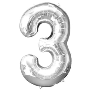 Number 3�balloon - 34inch Foil