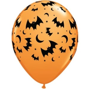 Bats And Moons 11inch Latex Balloons Pk6