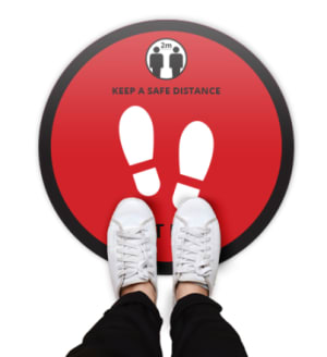 Round Floor Safety Stickers Covid 19 Red