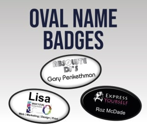 Oval Name Badges - 70 X 39mm