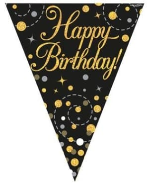 Party Bunting Sparkling Fizz Happy Birthday Black & Gold 11 Flags 3.9m