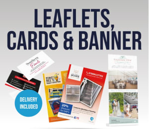£145+vat Offer (cards, Leaflets , Pop Up Banner)
