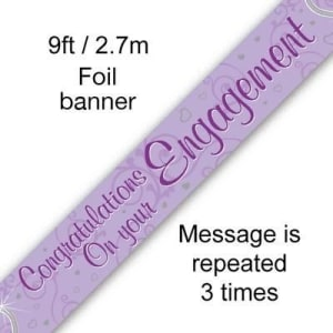 Congratulations On Your Engagement - Entwined Hearts9ft/2.7m Holographic Banner