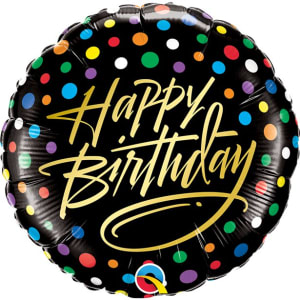Happy Birthday Gold Script & Dots Foil Balloon - 18inch Foil