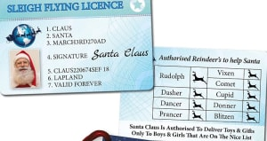 Santa Sleigh Flying Licence Blue