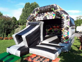 Bouncy Castle With Slide Black And Grey