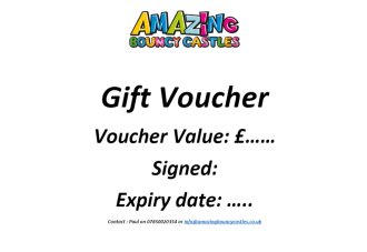 Gift Vouchers Now Available On Request