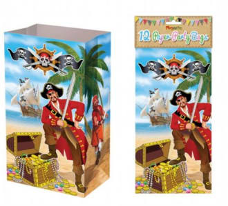 Paper Party Bags Pack Of 12 - Pirate Design