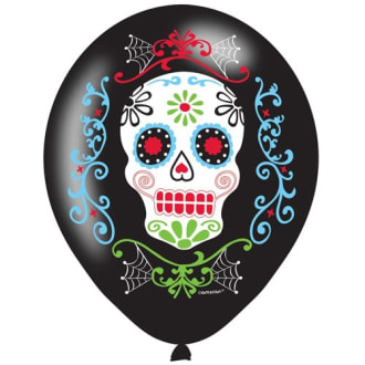 Day Of The Dead 11inch Latex Balloons Pk6