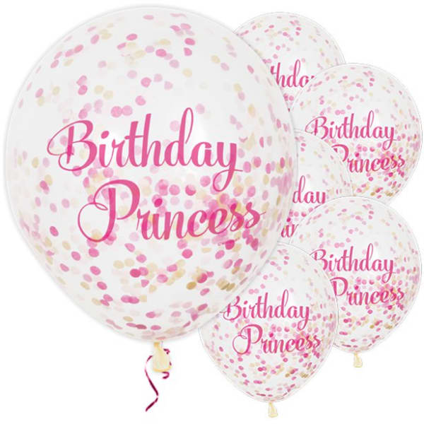 Birthday Princess Confetti Balloons - 12inch Latex (6pk)