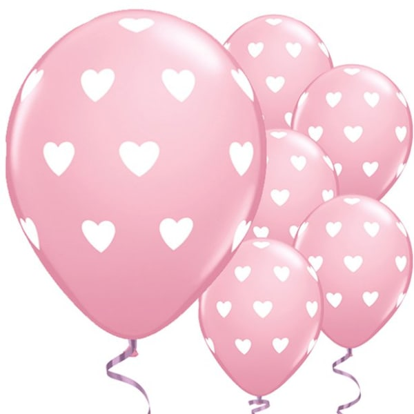 Big Pink Hearts Balloons - 11inch Latex (6pk)