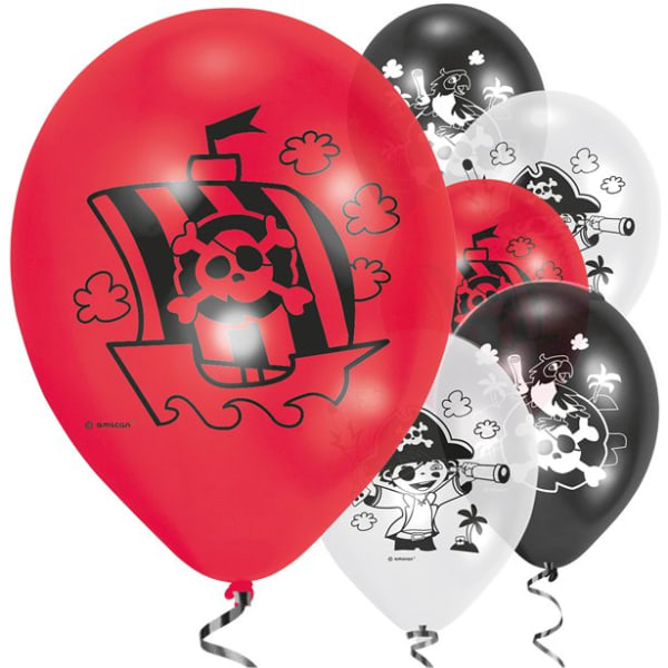 Captain Pirate Balloons - 9inch Latex (6pk)