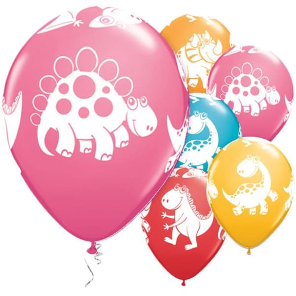 Cute & Cuddly Dinosaurs Assorted Balloons - 11inch Latex (6pk)