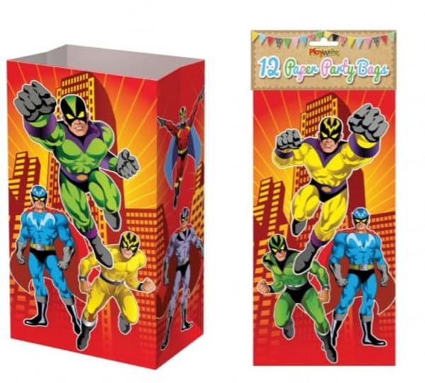 Paper Party Bags Pack Of 12 - Superhero Design