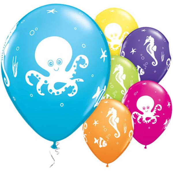Assorted Fun Sea Creatures Balloons - 11inch Latex (6pk)