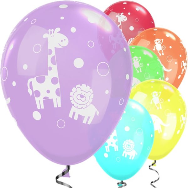 Cute & Cuddly Jungle Animals Assorted Balloons - 11inch Latex (6pk)