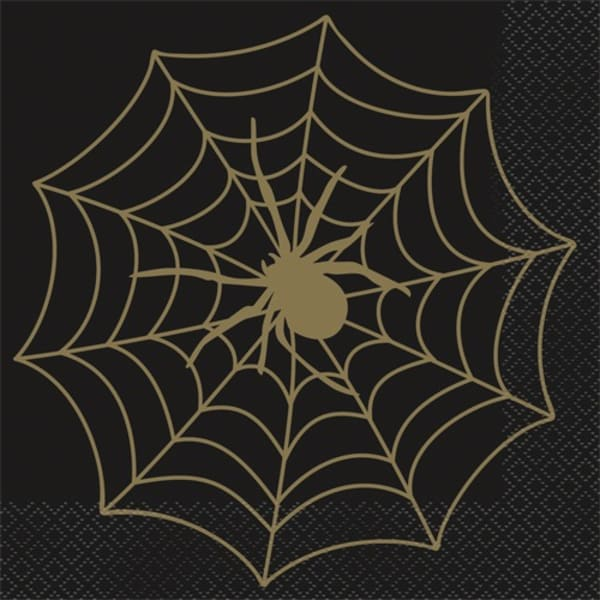 Black And Gold Spider Web Napkins Pk16