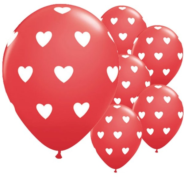 Big Red�hearts Balloons - 11inch Latex (6pk)