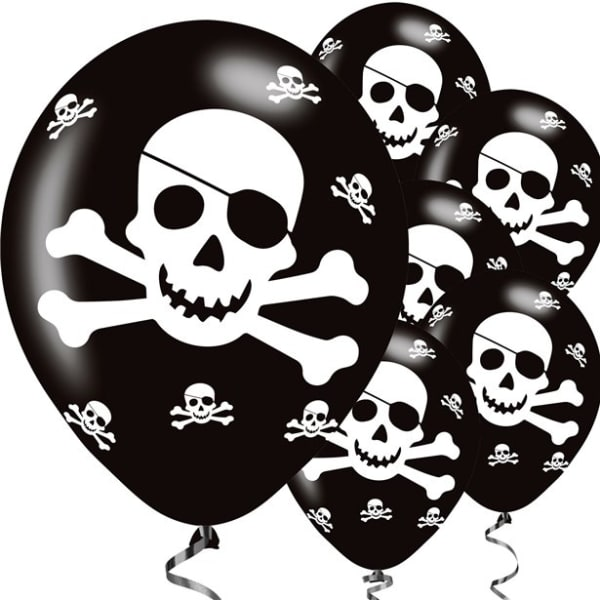 Pirate Skull & Crossbones Balloons - 11inch Latex (6pk)