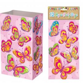 Paper Party Bags Pack Of 12 - Butterflies Design