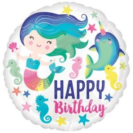 Mermaid & Narwhal Happy Birthday Balloon - 18inch Foil