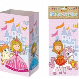 Paper Party Bags Pack Of 12 - Princess Design