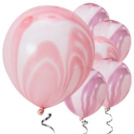 Pink & Purple Marble Balloons - 12inch Latex (10pk)