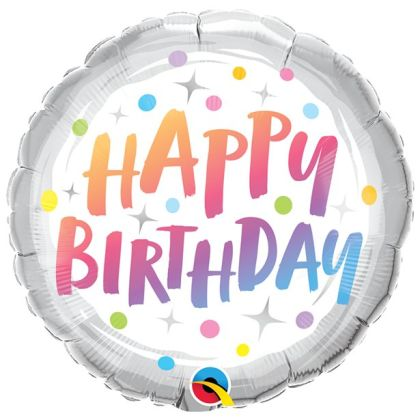 Rainbow Dots Birthday Balloon - 18inch Foil