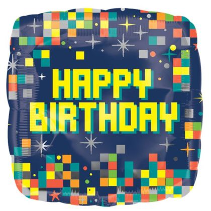 Happy Birthday Pixels Balloon - 18inch Foil