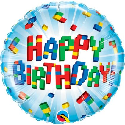Happy Birthday Exploding Blocks Balloon - 18inch Foil