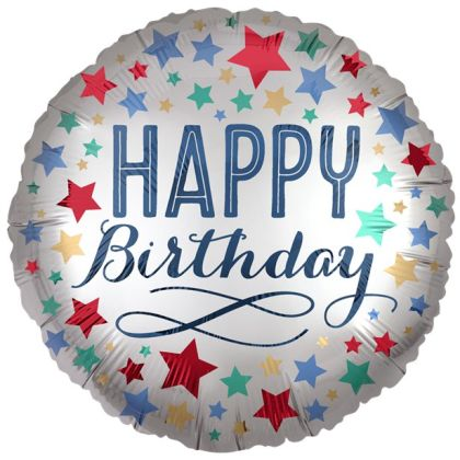 Silver Satin Stars Happy Birthday Balloon - 18inch Foil