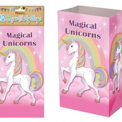 Paper Party Bags Pack Of 12 - Unicorn Design