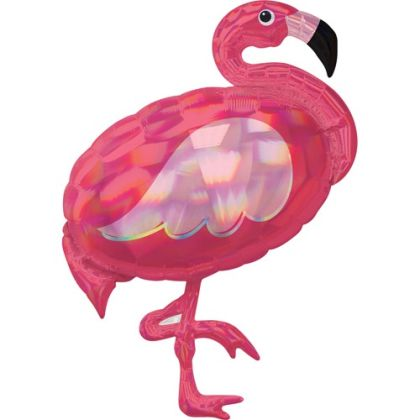 Pink Flamingo Iridescent Supershape Balloon - 33inch Foil