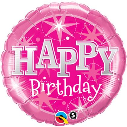 Happy Birthday Pink Sparkle Balloon - 18inch Foil