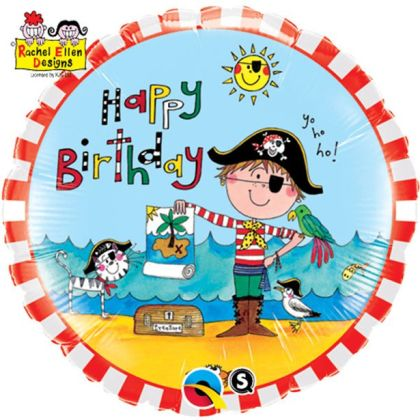 Happy Birthday Pirate Balloon - 18inch Foil