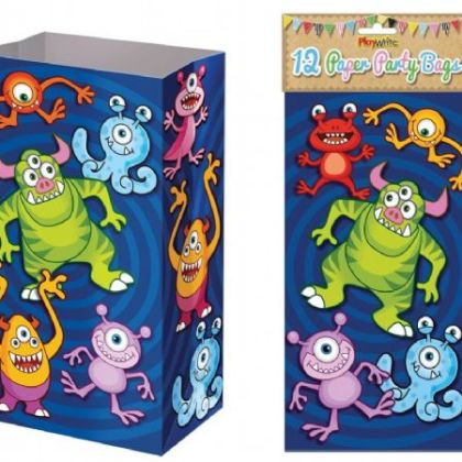 Paper Party Bags Pack Of 12 - Monsters Design